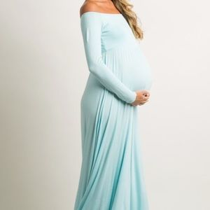 Pinkblush Dresses - Blue Maternity Dress with free floral belt